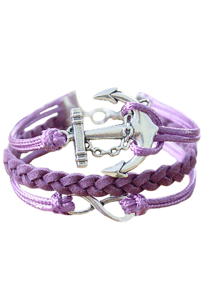 Anchor Infinity Purple Braided Bracelet