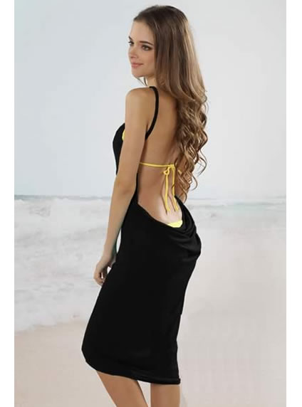 Trendy Black Open Back Beach Cover-Up Dress