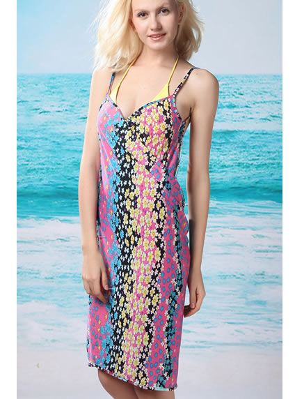 6547a5b8e7a4b2 Trendy Floral Open Back Beach Cover-Up Dress