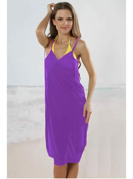 Beach Cover Up Trendy Open Back Dress Purple1