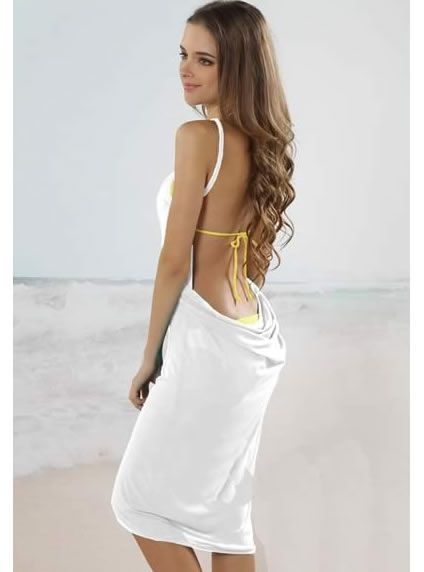 Beach Cover Up Trendy Open Back Dress White1