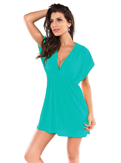 Trendy Green Plunge Beach Cover Up Tunic