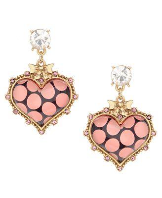 Large Heart Earrings Betsey Johnson Polka Dot Earrings1 Jpg