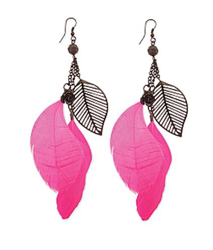 Black Pink Feather Dangle Earring Earring1 Jpg
