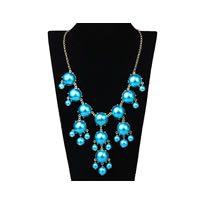 Bubble Bib Necklace In Pearl Teal