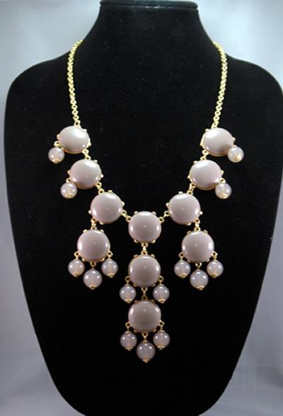 bib circle statement necklace in grey