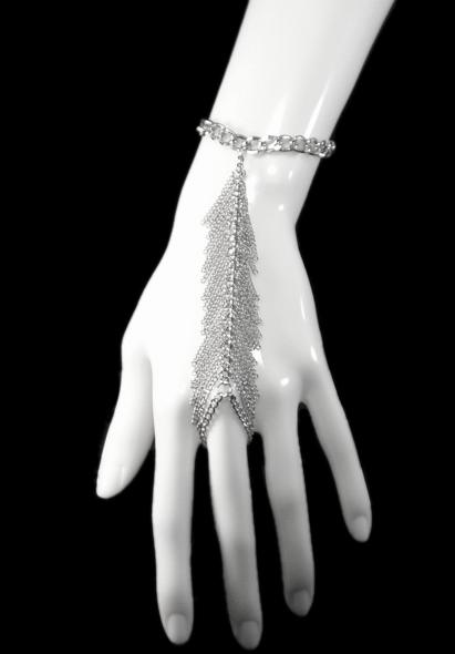 Cascading Fringe Silver Tone Slave Bracelet1 Jpg