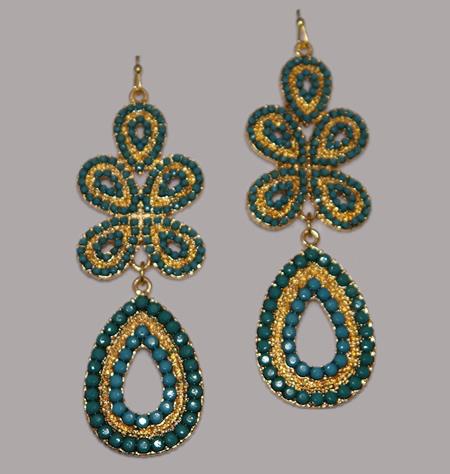 Bohemian chandelier earrings in green chandelier earrings green1g mozeypictures Choice Image