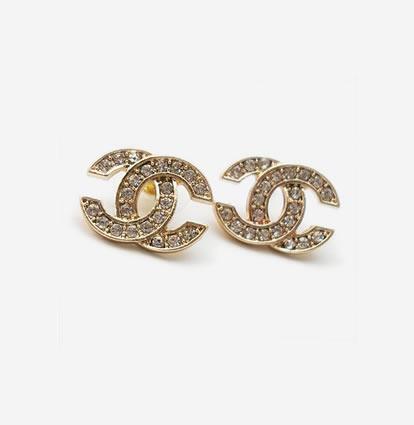 Double C Rhinestone Gold Stud Earrings 1 Jpg