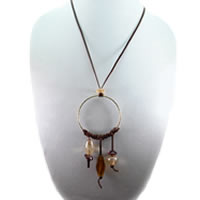 Hippie Chic Trendy Dream Hoop Necklace with tan nuggets