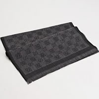 Gucci Unisex Dark Grey Logo Wool Scarf