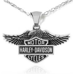 Harley Davidson Chain Necklace With Shield Pendant
