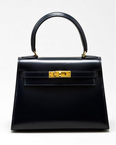 Hermes Mini Kelly 20cm Navy Leather Handbag