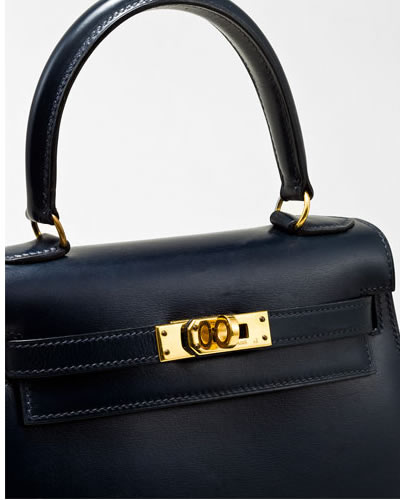 Hermes Mini Kelly 20cm Navy Leather Handbag