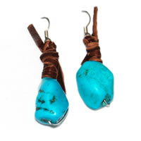 Hippie Chic Trendy Blue Nugget Wrap Drop Earrings
