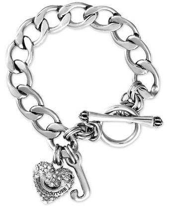 Stock Juicy Couture Bracelet Pave Heart Starter Silver Silver1 Jpg