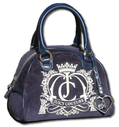 Juicy Couture Navy Bowling Bag Velour Handbag1 Jpg