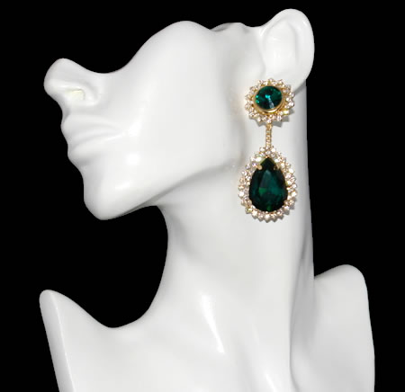 Large Emerald Green Drop Earrings 1 Jpg