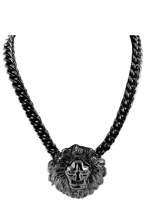 Trendy lion head gun metal pendant necklace lion head gun metal pendant necklace1g aloadofball Choice Image