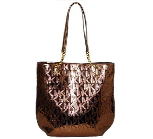 6733a7c0a30c Michael Kors Jet Set Chain Tote Handbag Mirror Metallic Cocoa