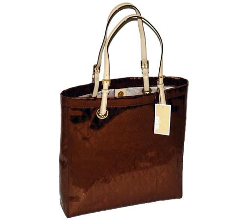 ffaf2559d6f2 Michael Kors Jet Set Tote Handbag Mirror Metallic Cocoa