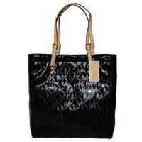 Michael Kors Jet Set Tote Handbag Mirror Metallic Black