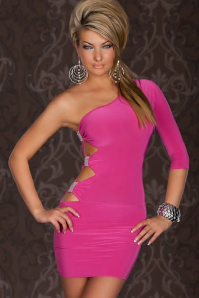 Sexy One Arm Mini Club Dress In Pink