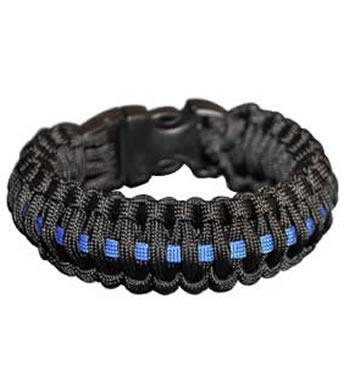 Paracord Survival Rescue Bracelet With Whistle Buckle Police Blue Line Bracelet1 Jpg