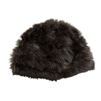 Coffee Rabbit Fur Beanie Hat