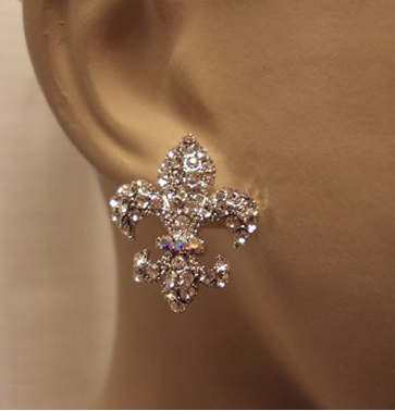 Fleur De Lis Stud Crystal Earrings Jpg