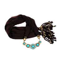 Black Trendy Turquoise Scarf Necklace