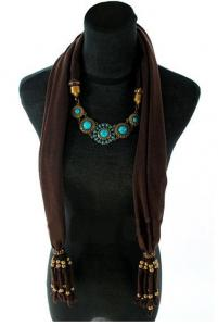 Brown Trendy Turquoise Scarf Necklace