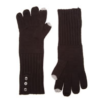 CALVIN KLEIN Black Touch Gloves with Buttons