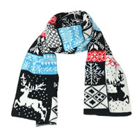 Colorful Deer and Snowflakes Scarf