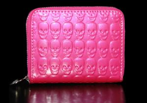 Hot Pink Skull Small Zip Wallet