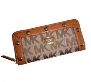 Michael Kors Delancy Continental Signature Logo Jacquard Zip Around Wallet