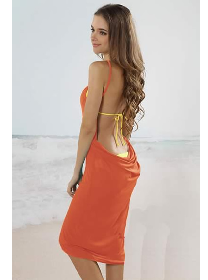 Orange Open Back Beach Cover Up Dress