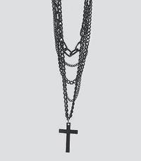 Cross Black Multi-Chain Necklace