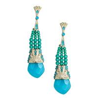 Danielle Stevens Beaded Blue Glass Drop Earrings