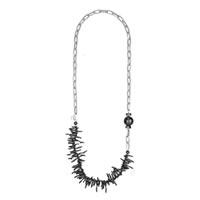 Furla Tulipano Long Necklace in Onyx & Silver-tone