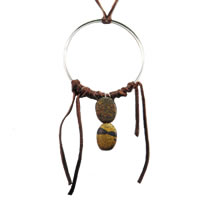 Hippie Chic Trendy Dream Hoop Necklace with brown nuggets