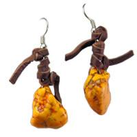 Hippie Chic Trendy Orange Nugget Wrap Drop Earrings