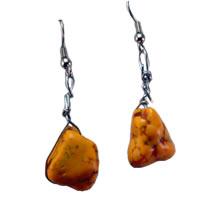 Hippie Chic Trendy Orange Nugget Wire Drop Earrings