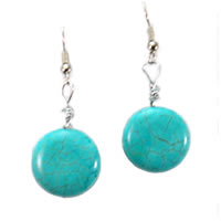 Hippie Chic Trendy Turquoise Nugget Drop Earrings
