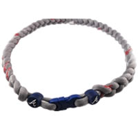 MLB 3 Rope Tornado Titanium Necklace  Atlanta Braves (Grey)