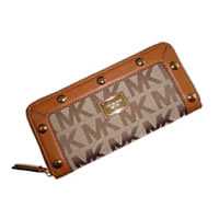 Michael Kors Delancy Continental Signature Logo Jacquard Zip Around Wallet
