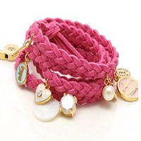 Couture Style Braided Leather Charm Bracelet