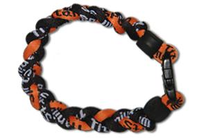 3 Rope Titanium Tornado Bracelet (Black/Orange/Black)