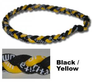 "3 Rope Tornado Titanium Necklace 18"" <br />  (Black/Yellow/Black)"