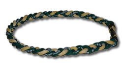 3 Rope Tornado Titanium Necklace (Green/Gold/Green)